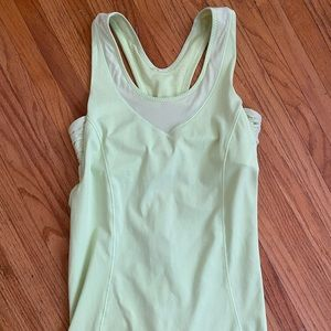 Light green lululemon workout top